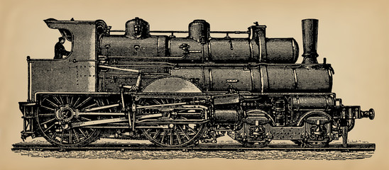 "An old steam locomotive, model of 1897. Publication of the book ""A Century in the text and pictures"", Berlin, Germany, 1899"