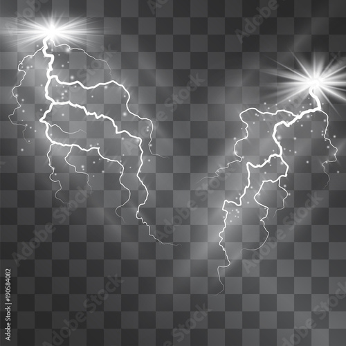 Lightning Vector Light Effect Decorative Lighting Bolt On Transparent Background With Magical Glowing Halo And