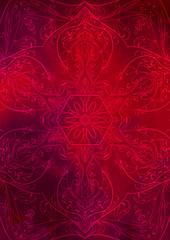 Sfondo texture orientale rosso con decorazione effetto mandala
