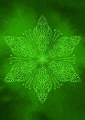 Sfondo texture orientale verde con decorazione mandala