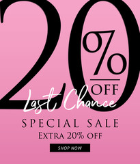 Special Sale 20 percent heading design on pink background for banner or poster. Sale and Discounts Concept. Vector illustration.