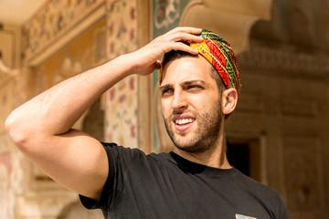 Young Traveler Guy Dressing like Indians