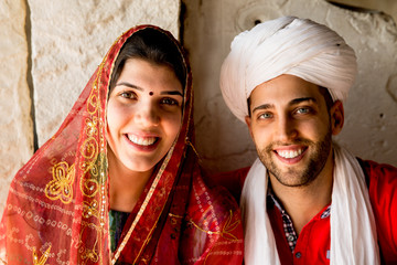 Young Traveler Couple Dressing like Indians