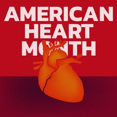 American Heart Month logo vector illustration