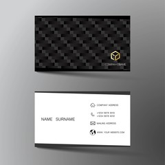 Realistic detailed business card design. With inspiration from the abstract. Contact card for company. Two sided black and white on the gray background. Vector illustration.