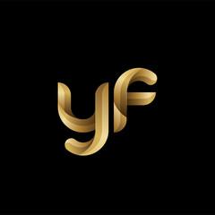 Initial lowercase letter yf, swirl curve rounded logo, elegant golden color on black background