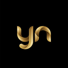 Initial lowercase letter yn, swirl curve rounded logo, elegant golden color on black background