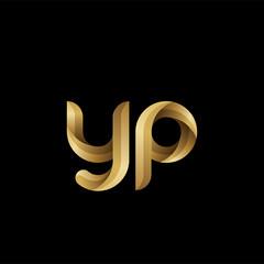 Initial lowercase letter yp, swirl curve rounded logo, elegant golden color on black background