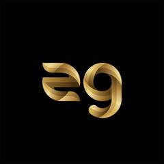 Initial lowercase letter zg, swirl curve rounded logo, elegant golden color on black background