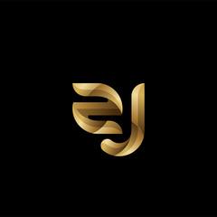 Initial lowercase letter zj, swirl curve rounded logo, elegant golden color on black background