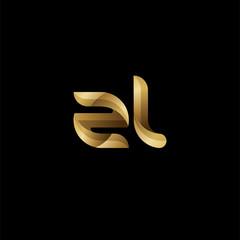 Initial lowercase letter zl, swirl curve rounded logo, elegant golden color on black background