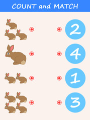 Count and match rabbit cartoon. Math educational game for children