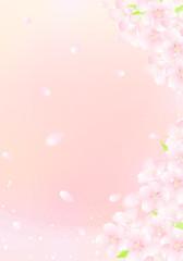 青空と桜吹雪 キラキラ イラスト