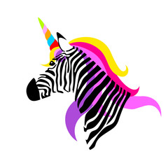 Colorful unicorn zebra. vector illustration isolated on white background.