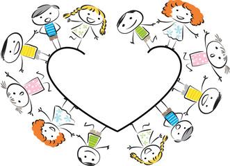 kids with heart shape