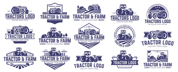 Collection of Tractor and farm logo template, vector set, vector pack Fototapete
