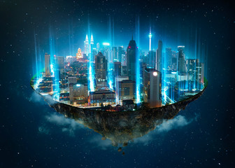 Fantasy island floating in the air with network light came out from the ground  , Smart city and wireless network connection concept .