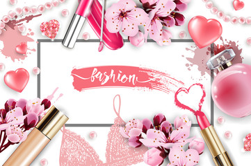 Cosmetics and fashion background with make up artist objects: lip gloss, perfume,pink pearl beads, sparkling hearts. Foundation, pink lipstick. with cherry flowers. Spring and Valentines day Concept