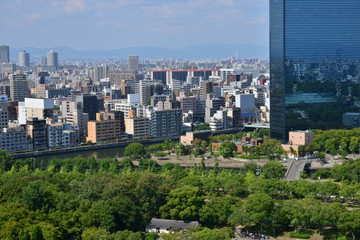 Osaka, Japan - august 5 2017 : city view from the castle