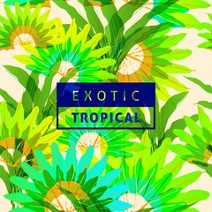 Exotic tropical leaves pattern seamless background with vibrant nature color