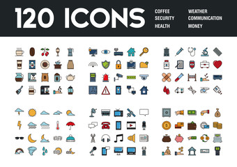 Set of 120 icons with different themes, vector illustration
