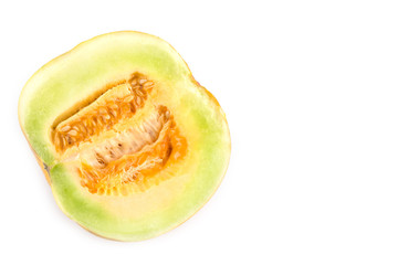 Cantaloupe cut in half  isolated