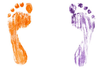 Colorful baby's footprints isolated on white background