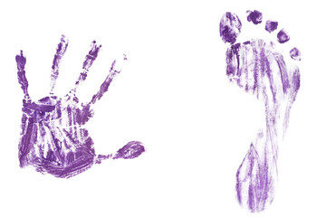 Colorful baby's footprint and handprint isolated on white background
