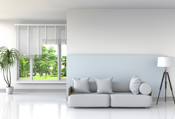 interior modern living room and green landscape in window. 3D rendering