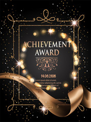 Certificate of achievement sheet with gold ribbon and vintage frame. Vector illustration