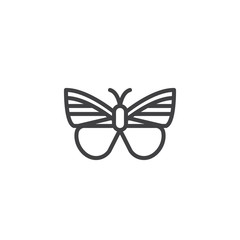 Butterfly line icon, outline vector sign, linear style pictogram isolated on white. Moth symbol, logo illustration. Editable stroke