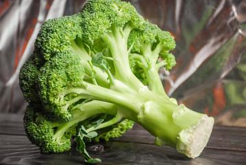 Broccoli on wood board