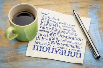 motivation word cloud on napkin