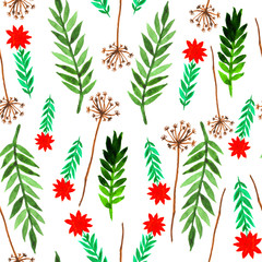 Seamless pattern with herbal motifs. Hand painted watercolor elements.