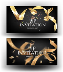 Vip invitation banners with curly gold ribbon. Vector illustration