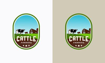 set of vintage Cattle farming logo badge, Cattle farm logo badge, cow farm logo badge, beef fresh logo badge vector