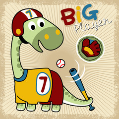 funny dinosaurs cartoon vector with baseball equipment