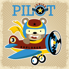 Little plane cartoon vector with little pilot