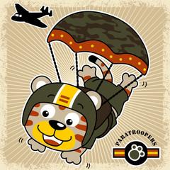 funny paratrooper cartoon vector