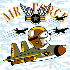 Figter jet squadron cartoon vector with funny pilot