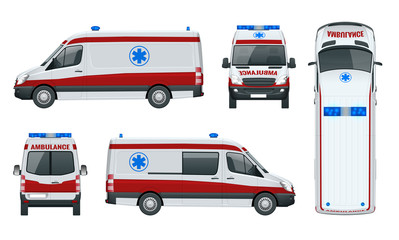 Ambulance Car. An emergency medical service, administering emergency care to those with acute medical problems. Side view, top, roof, rear, front.
