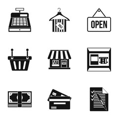 Online purchase icons set, simple style