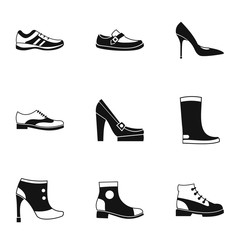 Footgear icons set, simple style