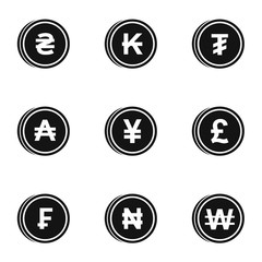 Currency icons set, simple style