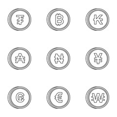 Money of countries icons set, outline style