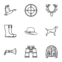 Hunting of animals icons set, outline style