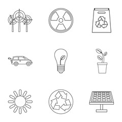 Conservation icons set, outline style