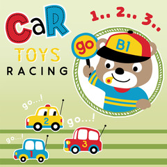 car toy racing cartoon vector with cute animal