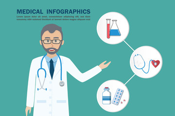 Medical infographic doctor presenting information with health care icon.