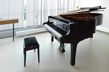 Black grand piano in empty room